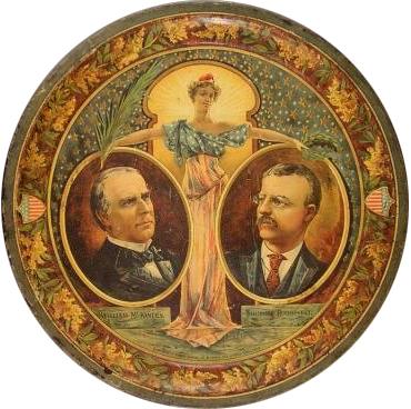 William McKinley & Teddy Roosevelt Beer Tray